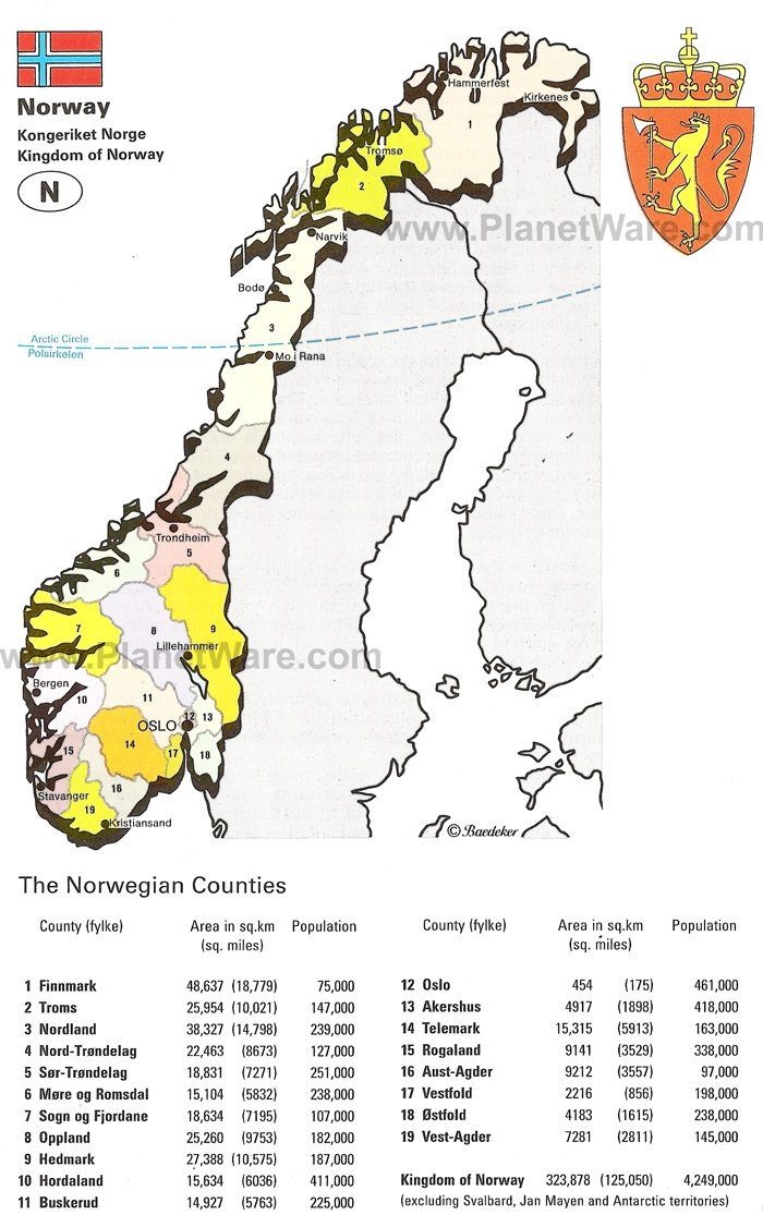 Map Of Kingdom Of Norway PlanetWare - Norway map picture