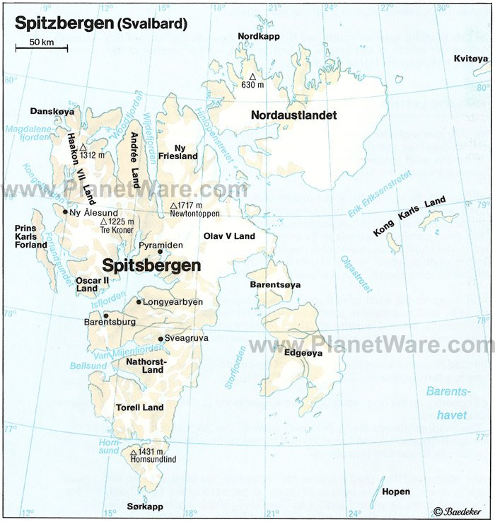 Spitzbergen (Svalbard) Map - Tourist Attractions
