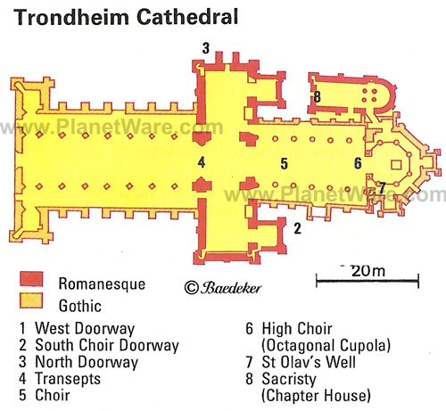 Trondheim Cathedral - Floor plan map