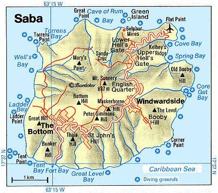 Saba Netherlands Antilles Cruise Port Of Call - Netherlands antilles map