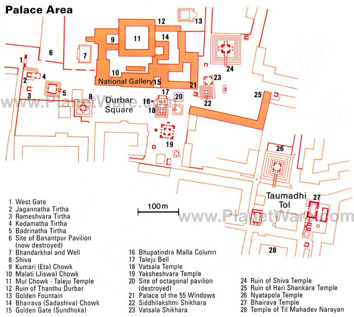 Durbar Square Palace Area, Bhaktapur, Kathmandu Valley Map - Tourist Attractions