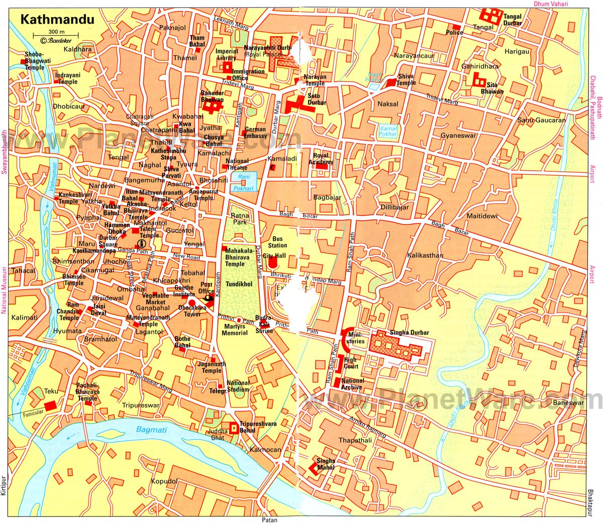 Kathmandu City Map - Tourist Attractions