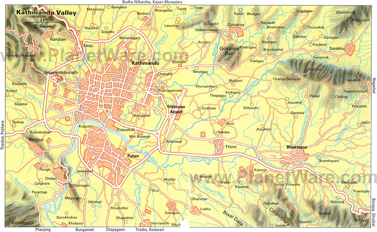 Kathmandu Valley Map - Tourist Attractions