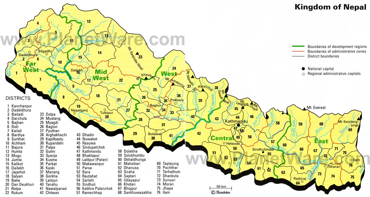 Map of Nepal Districts PlanetWare