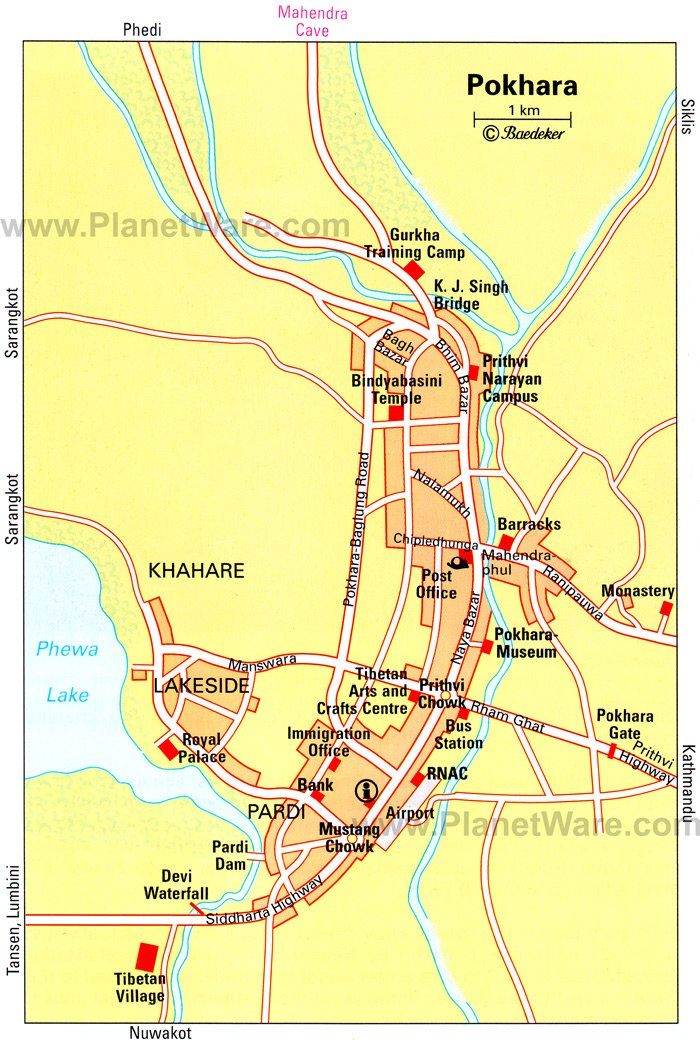 Pokhara, Central Nepal Map - Tourist Attractions