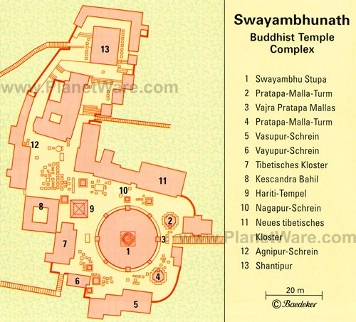 Swayambhunath Temple, Kathmandu Valley - Floor plan map