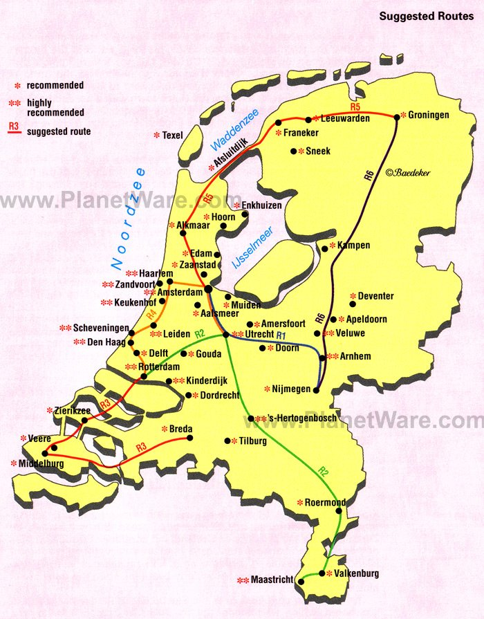 Map of Netherlands - Suggested Routes | PlanetWare