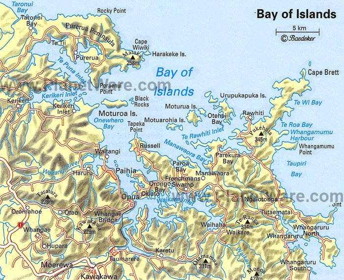 Bay of Islands Map - Tourist Attractions