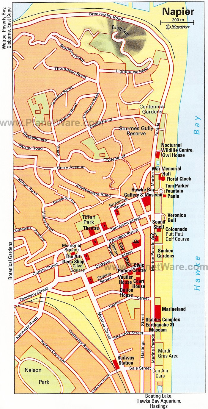 Napier Map - Tourist Attractions