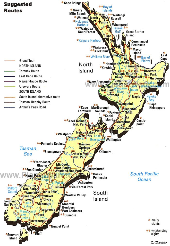 New Zealand Sightseeing Map.Map Of New Zealand Planetware