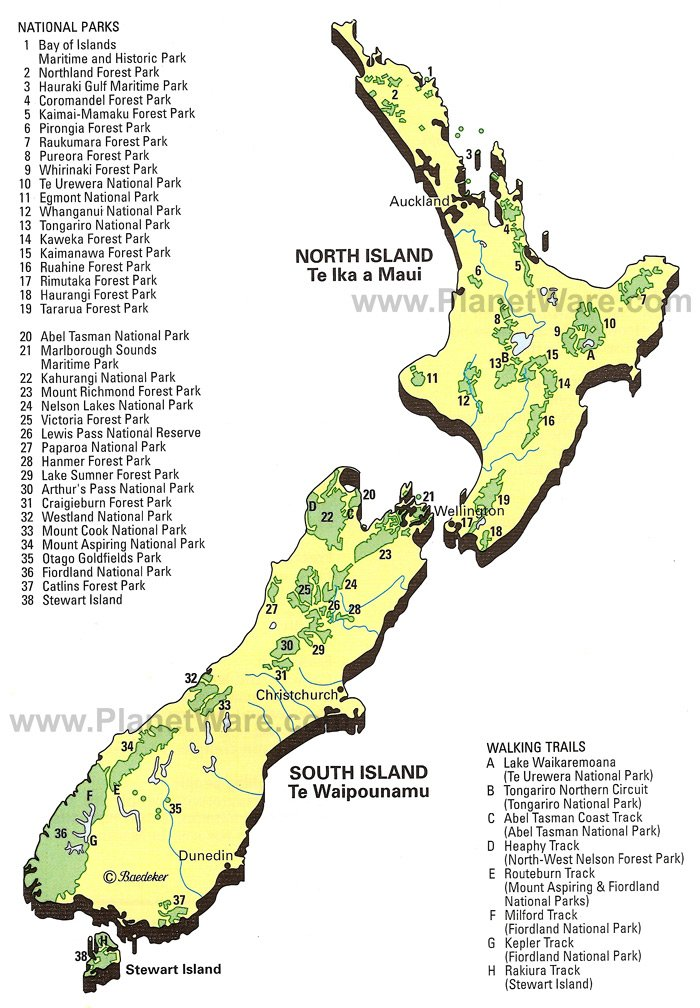 South Island Map Of New Zealand.Map Of New Zealand National Parks Walking Trails Planetware