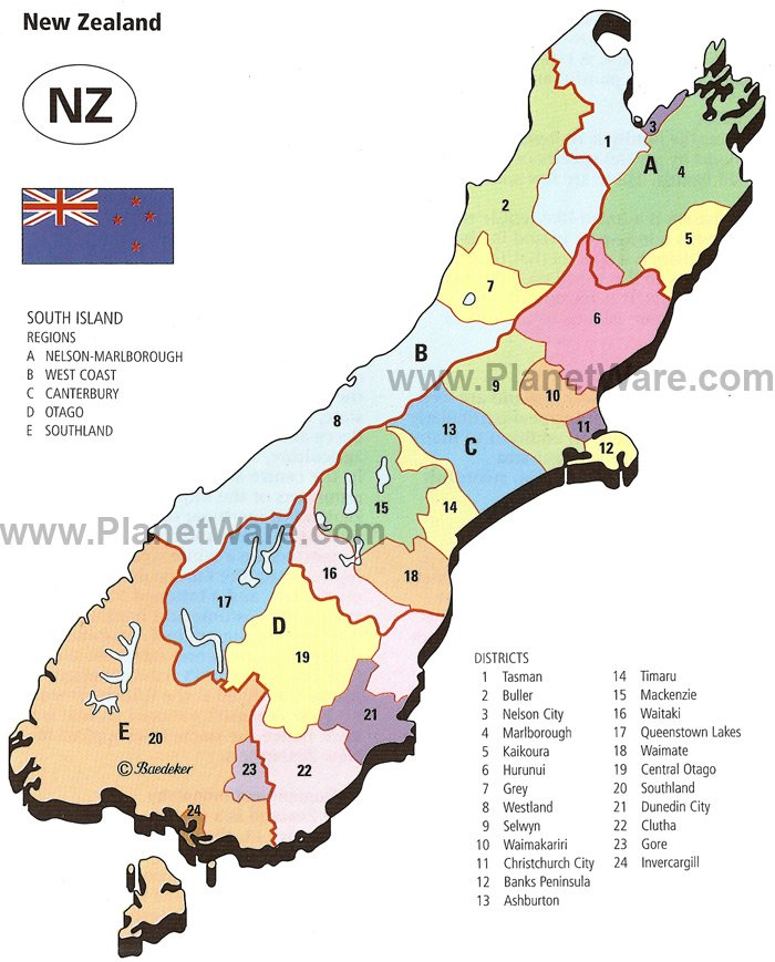 New Zealand - South Island Regions and Districts Map