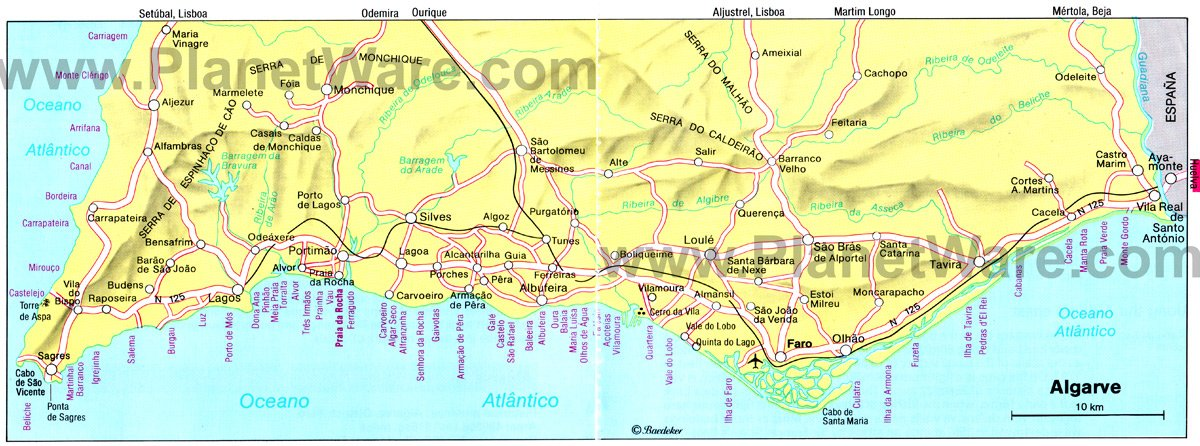 Algarve Map - Tourist Attractions