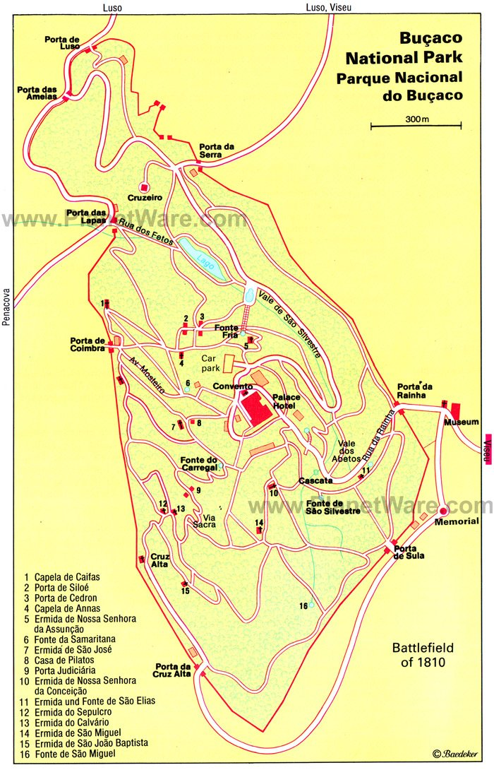 Bucaco National Park Map - Tourist Attractions