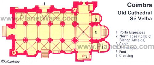 Coimbra - Old Cathedral - Floor plan map