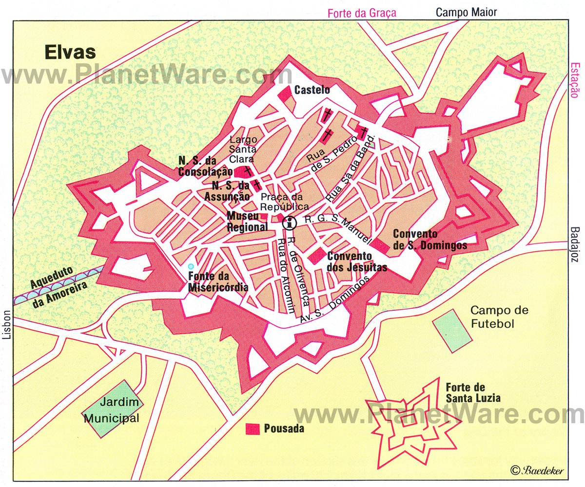 Elvas Map - Tourist Attractions
