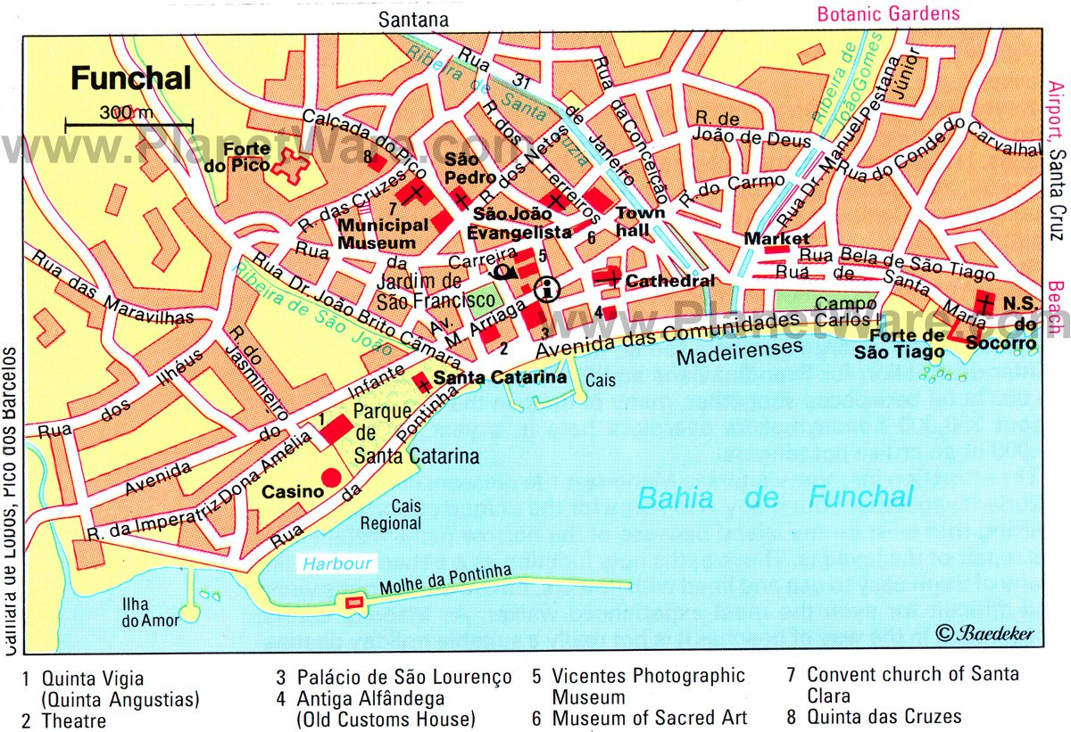TopRated Tourist Attractions In Funchal PlanetWare - Portugal map to print