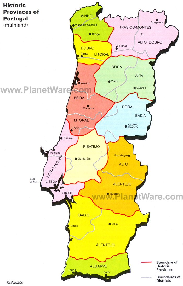 Map Of Historic Provinces Of Portugal PlanetWare - Portugal map to print