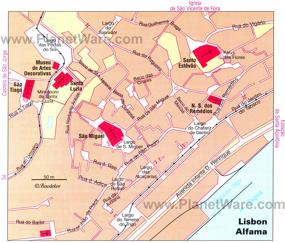 Lisbon Alfama map - Tourist attractions