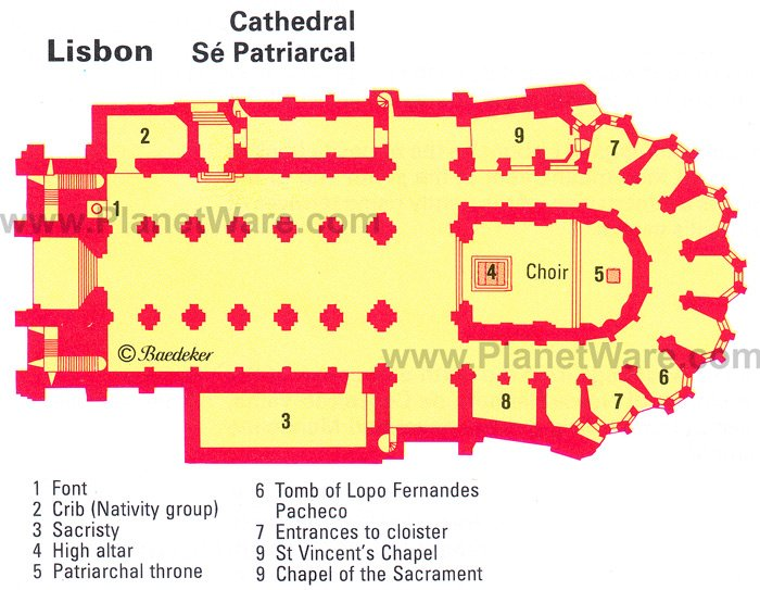 Lisbon Cathedral - Floor plan map