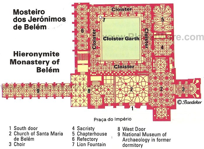 Lisbon - Hieronymite Monastery of Belém - Floor plan map