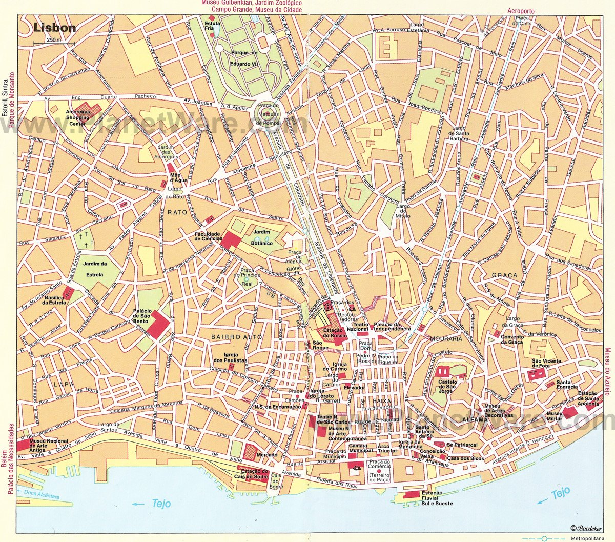 TopRated Tourist Attractions In Lisbon PlanetWare - Portugal map to print