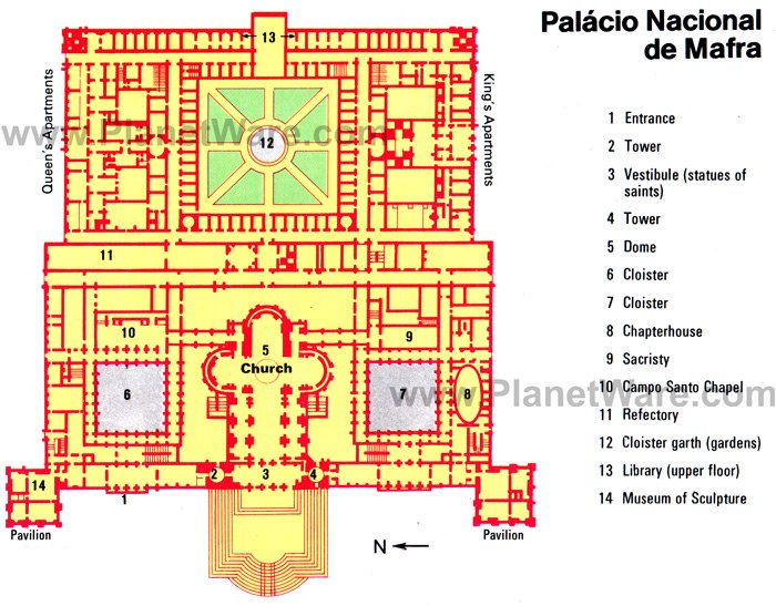 Palacio Nacional de Mafra - Floor plan map