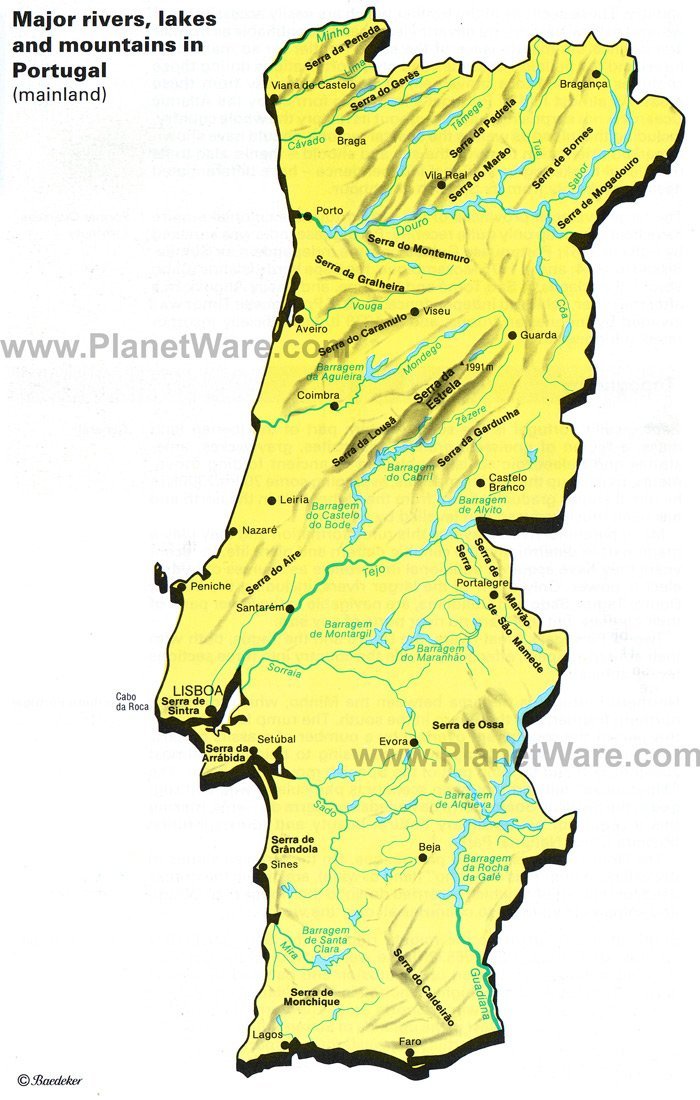 Portugal - Major rivers, lakes and Montains Map