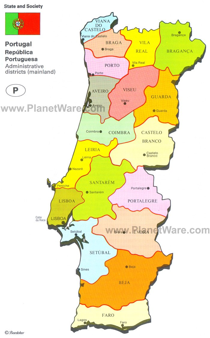 Map Of Portugal PlanetWare - Portugal map to print