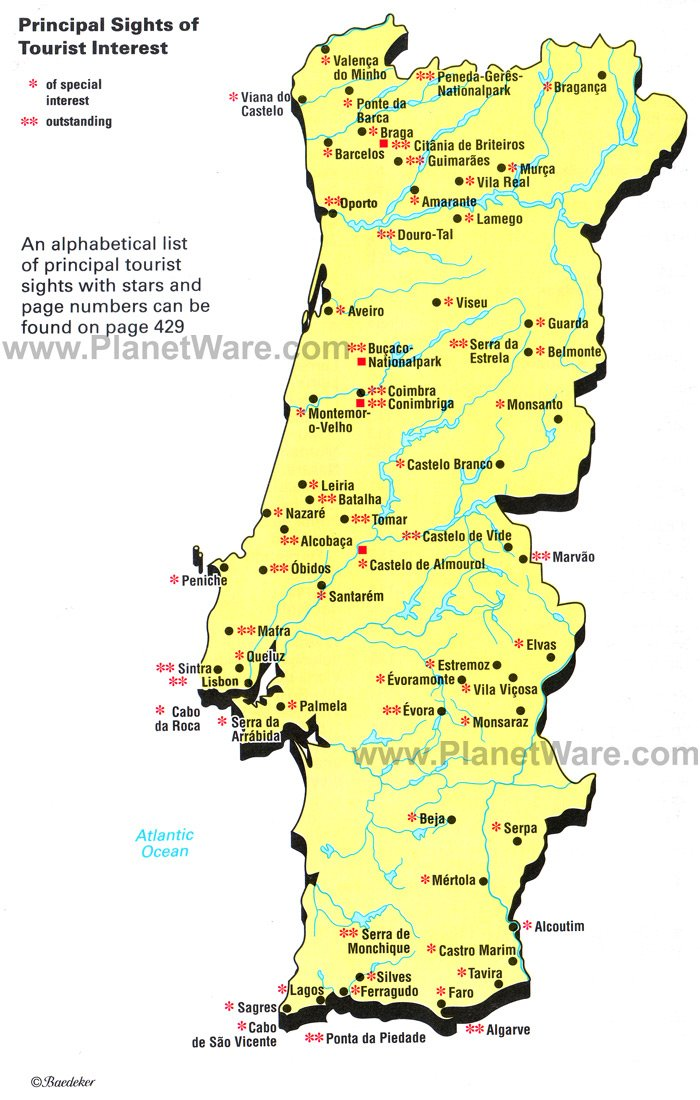 Map Of Principal Sights Of Tourist Interest PlanetWare - Portugal map to print