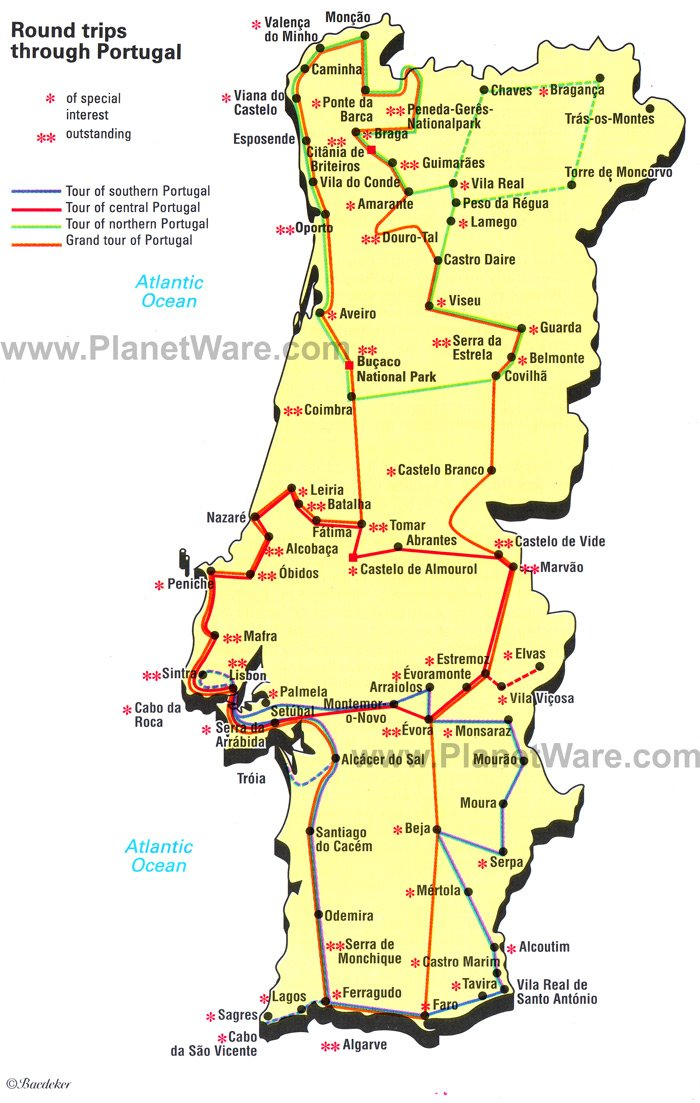 Map of Round trips through Portugal – Portugal Tourist Map