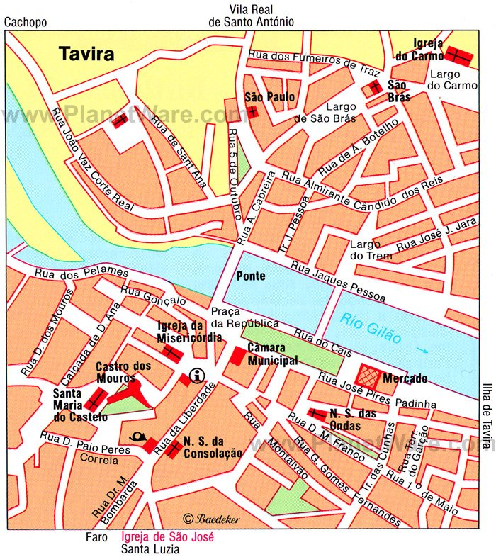 Tavira Map - Tourist Attractions