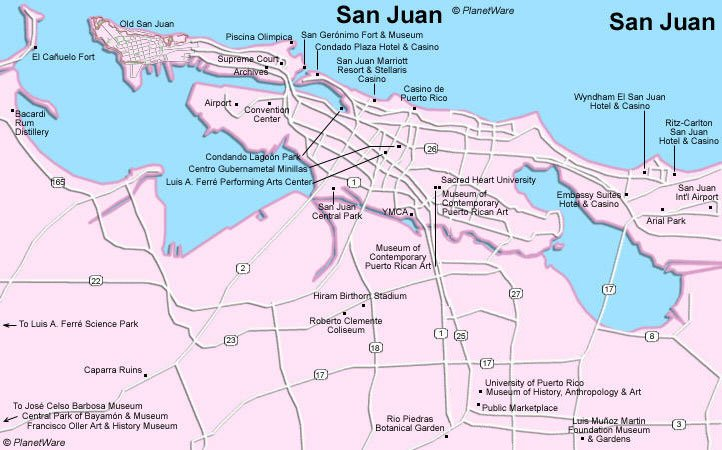 Puerto Rico - San Juan Map - Tourist Attractions