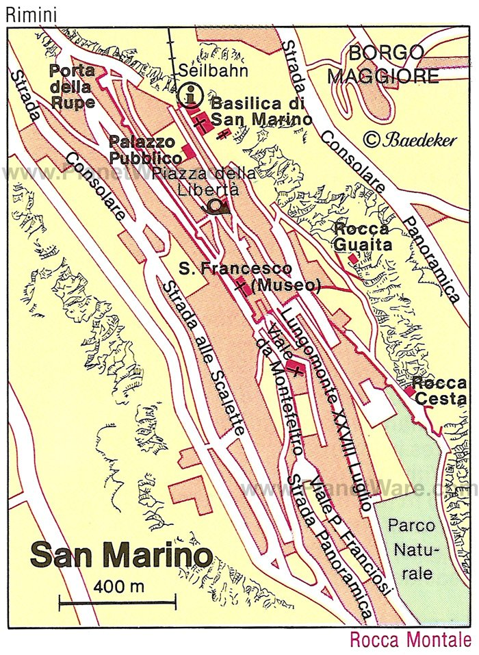 San Marino Map - Tourist Attractions