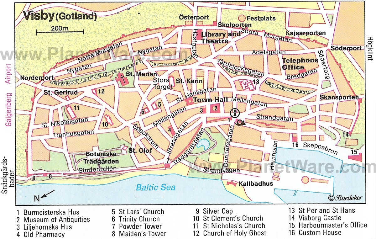 Visby (Gotland) Map - Tourist Attractions