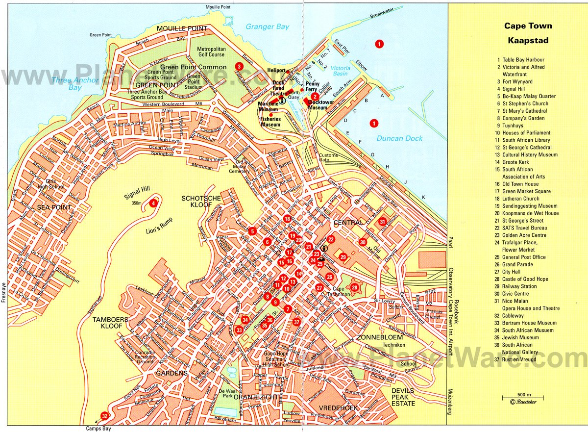 Cape Town Map - Tourist Attractions