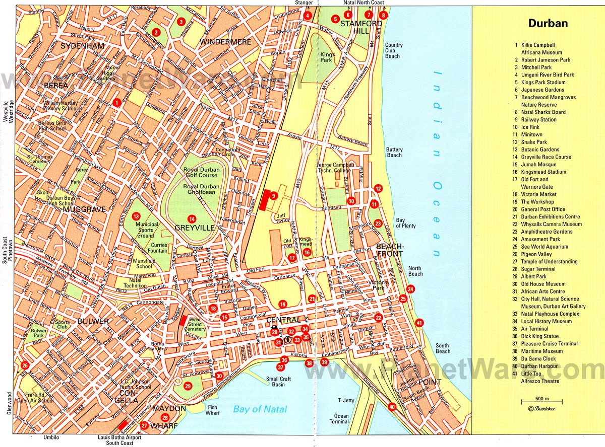 Durban Map - Tourist Attractions