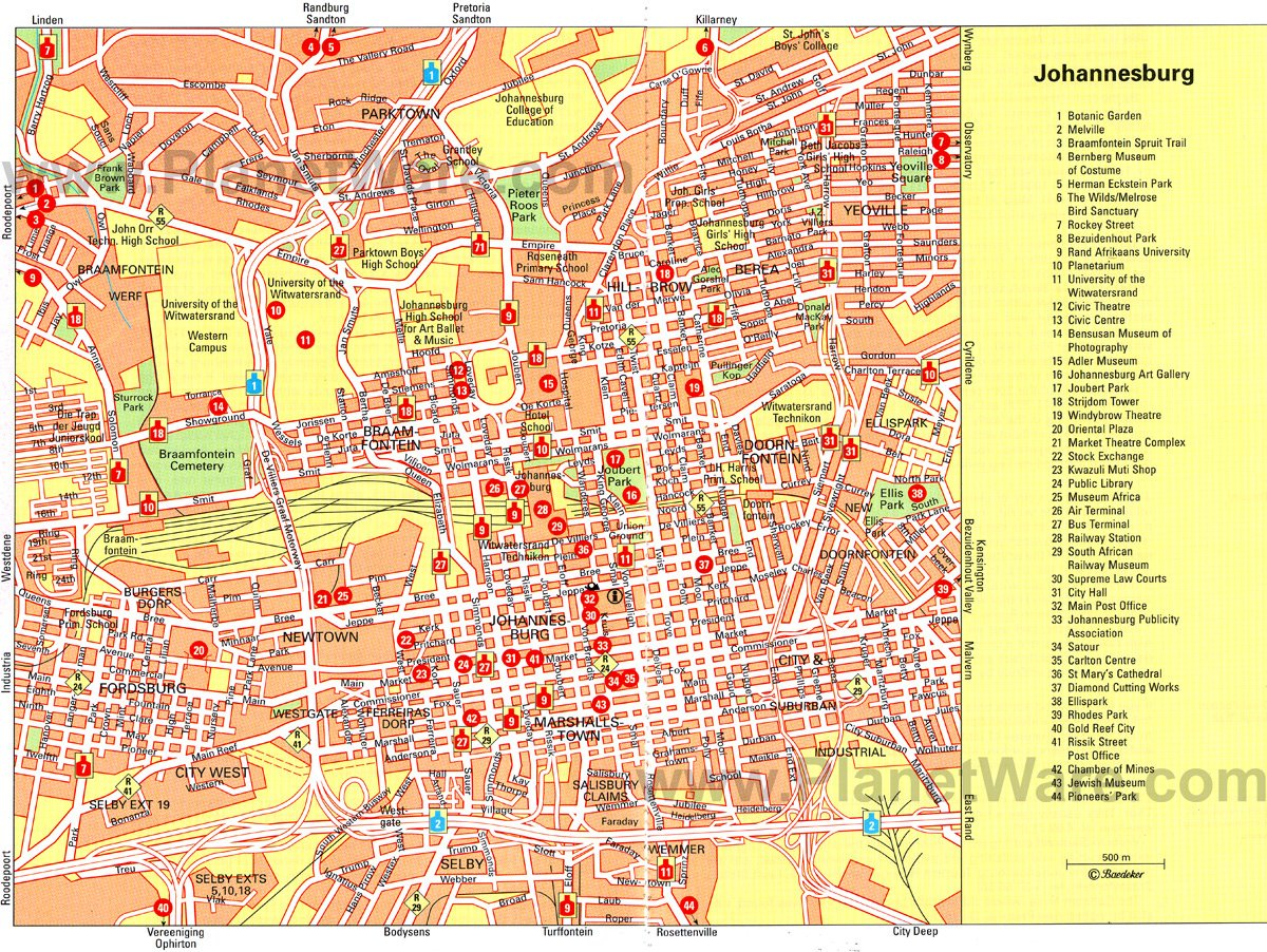 Johannesburg Map - Tourist Attractions
