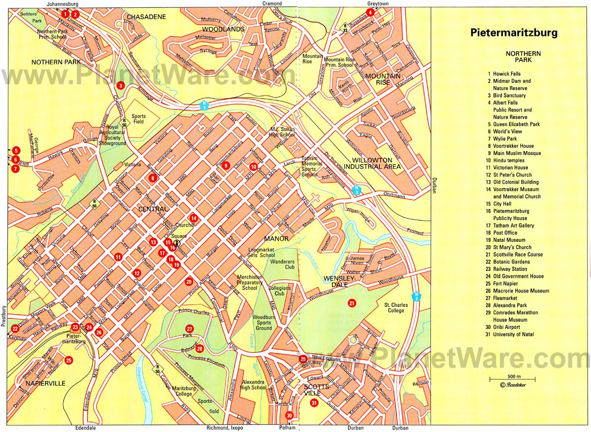 Pietermaritzburg Map - Tourist Attractions