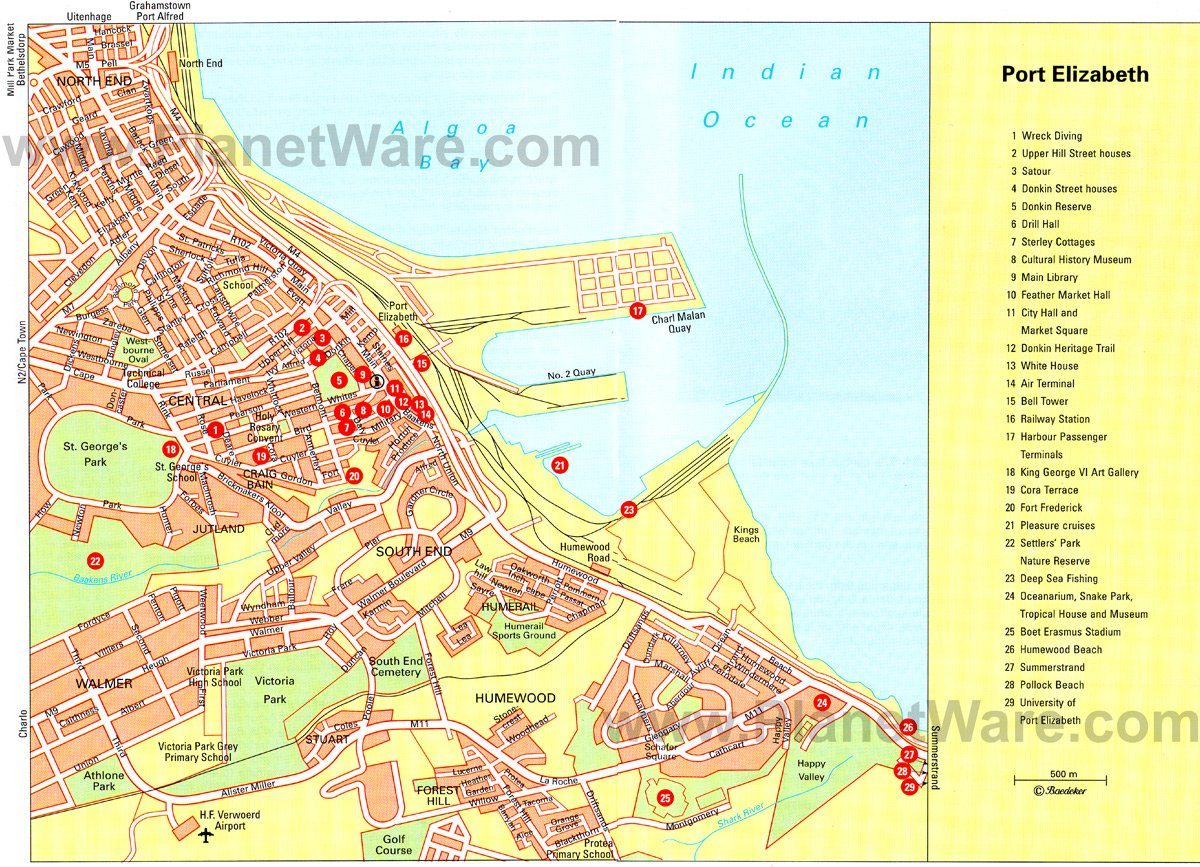 Port Elizabeth Map - Tourist Attractions