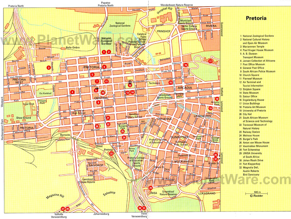 Pretoria Map - Tourist Attractions