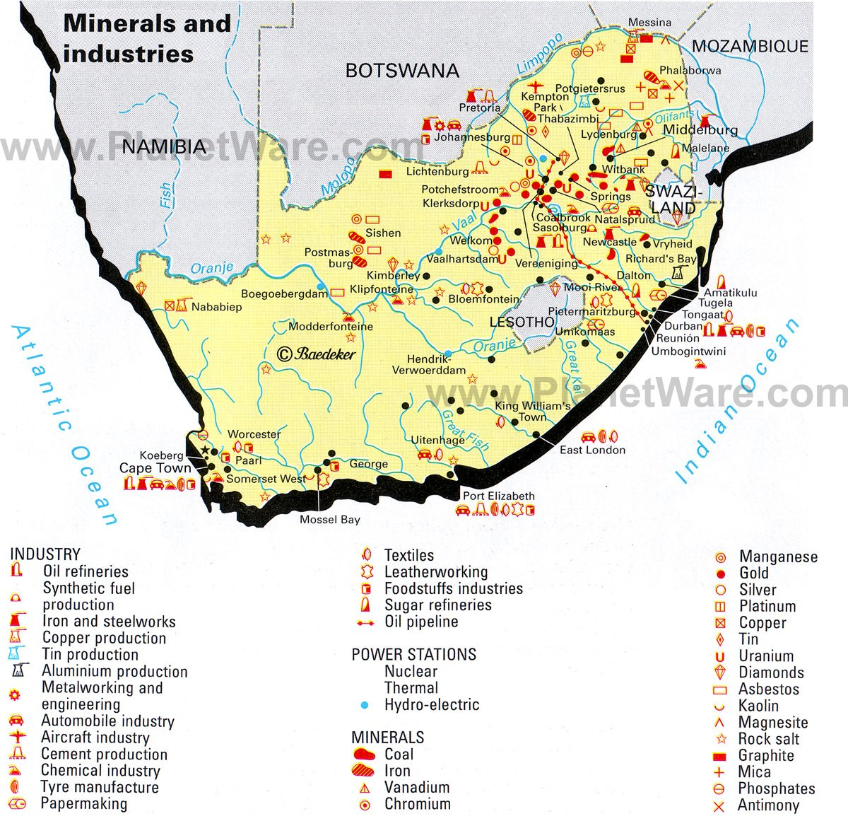 Maps South Africa.Map Of South Africa Minerals And Industries Planetware