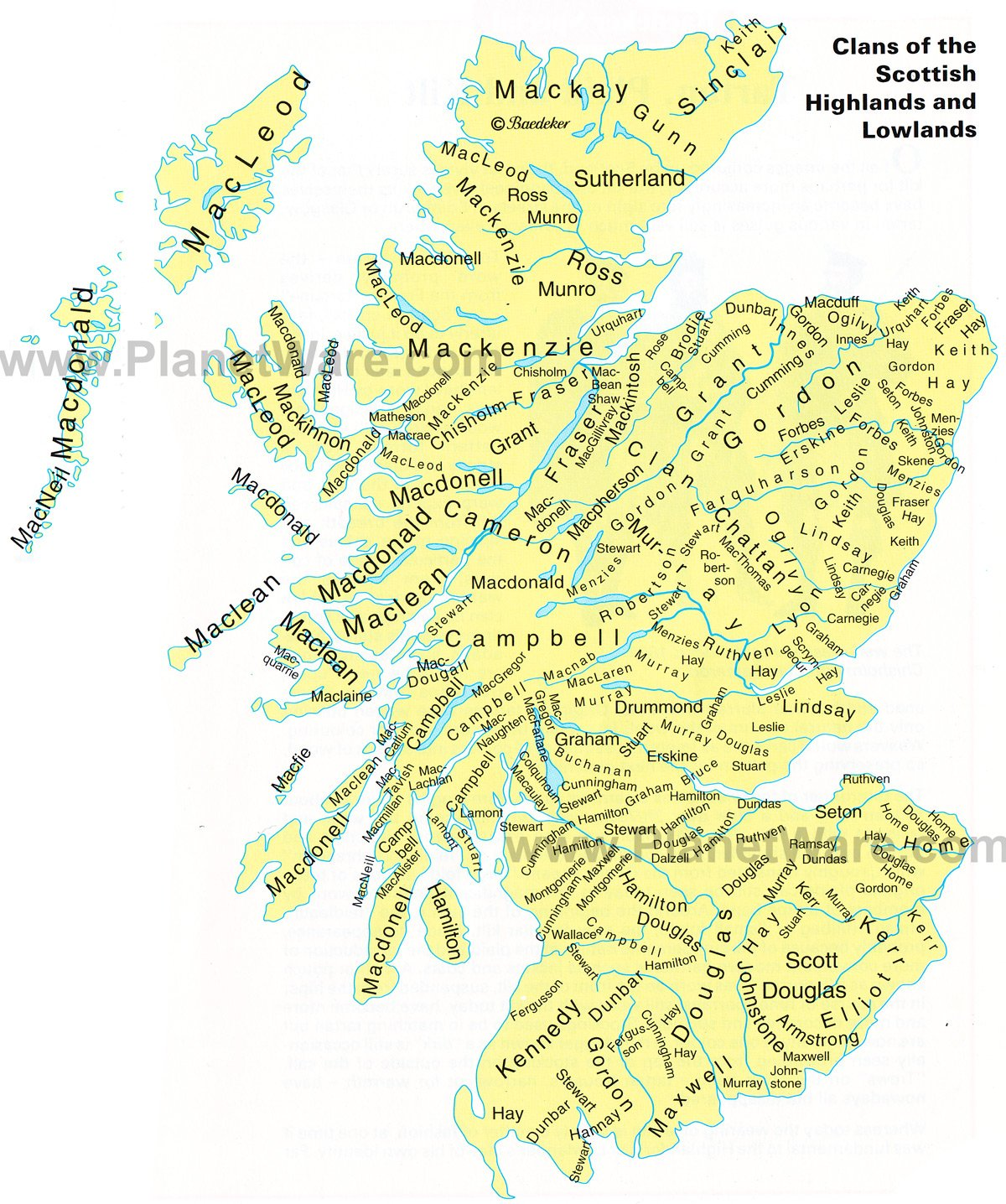 Map of Clans of the Scottish Highlands and Lowlands – Scotland Tourist Map