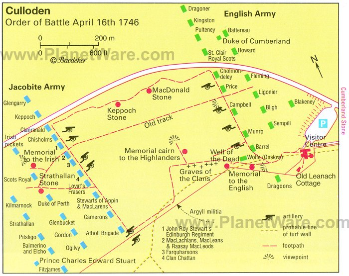 Culloden - Order of Battle April 16, 1746 - Map
