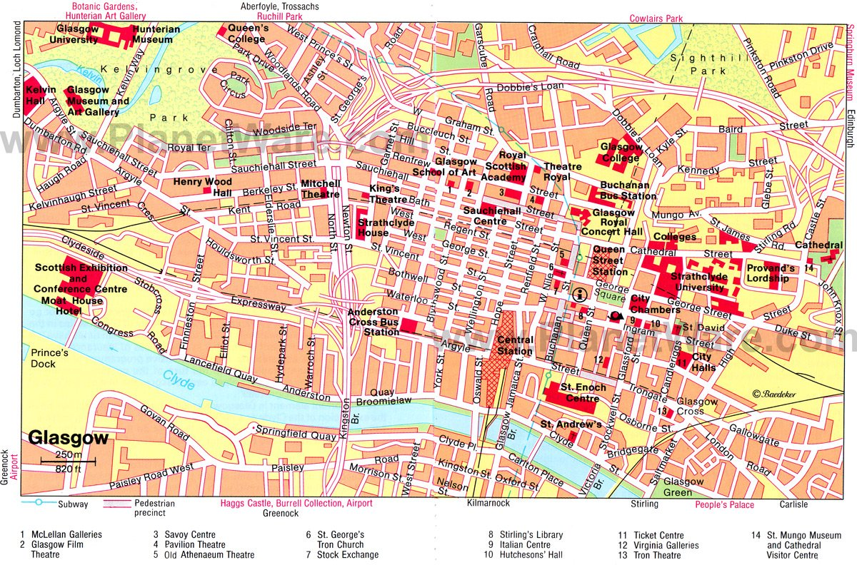 Glasgow Map - Tourist Attractions