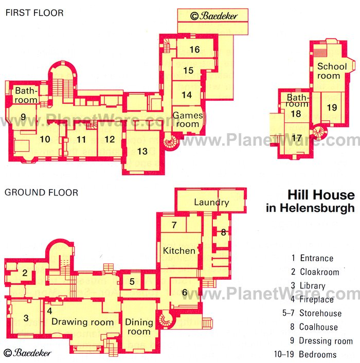 Hill House in Helensburgh - Floor plan map