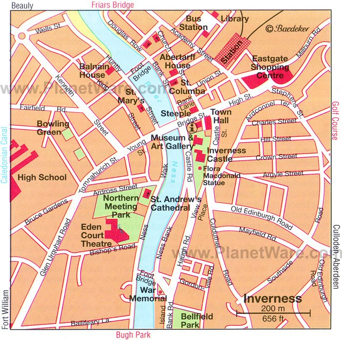 Inverness Map - Tourist Attractions