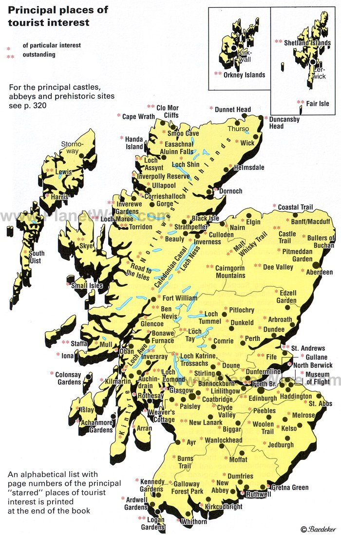 Map of Scotland places of Tourist Interest PlanetWare