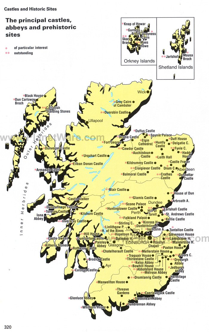 Map of Scotland Principal Castles abbeys and Prehistoric Sites – Scotland Tourist Map