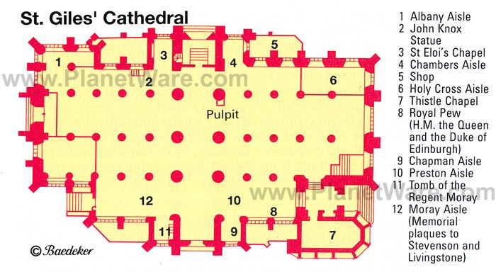 St.Giles Cathedral - Floor plan map